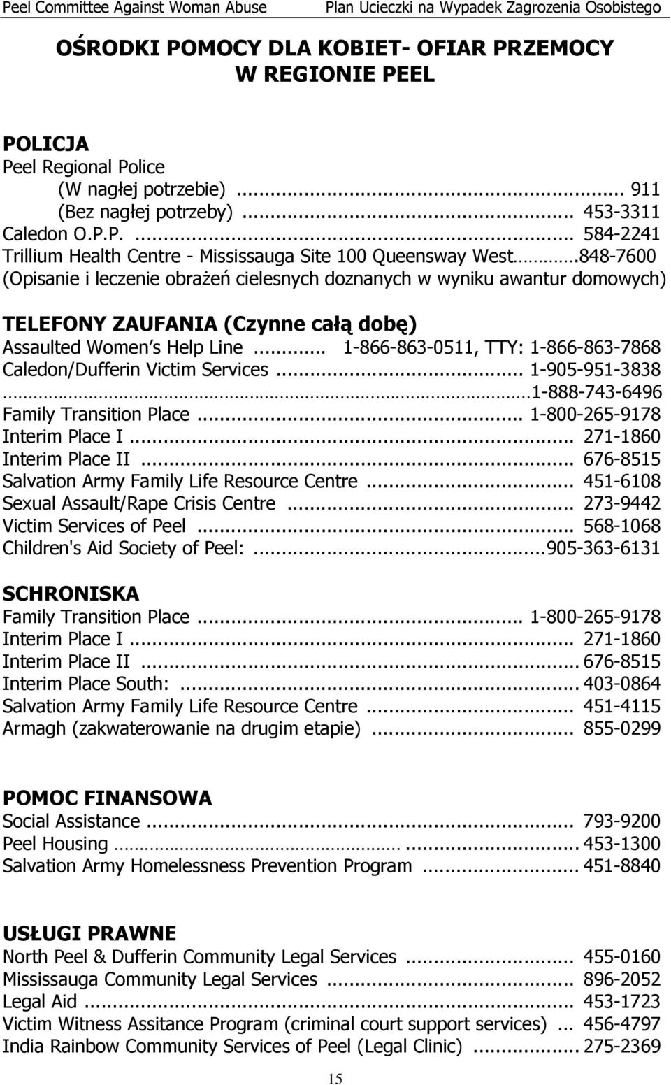 .. 1-866-863-0511, TTY: 1-866-863-7868 Caledon/Dufferin Victim Services... 1-905-951-3838 1-888-743-6496 Family Transition Place... 1-800-265-9178 Interim Place I... 271-1860 Interim Place II.