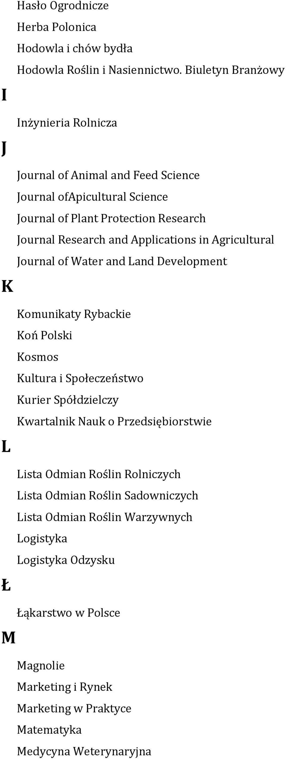 Applications in Agricultural Journal of Water and Land Development L Ł Komunikaty Rybackie Koń Polski Kosmos Kultura i Społeczeństwo Kurier Spółdzielczy Kwartalnik