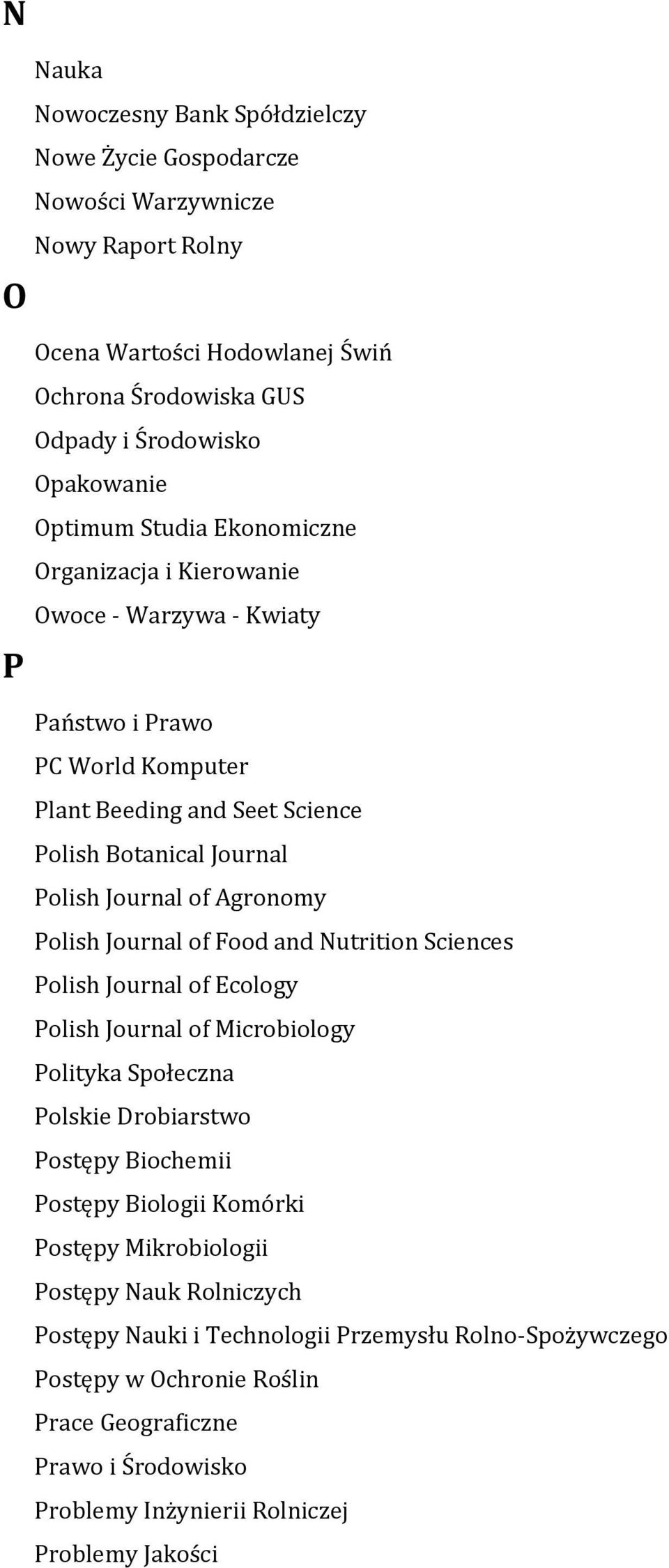 Journal of Food and Nutrition Sciences Polish Journal of Ecology Polish Journal of Microbiology Polityka Społeczna Polskie Drobiarstwo Postępy Biochemii Postępy Biologii Komórki Postępy