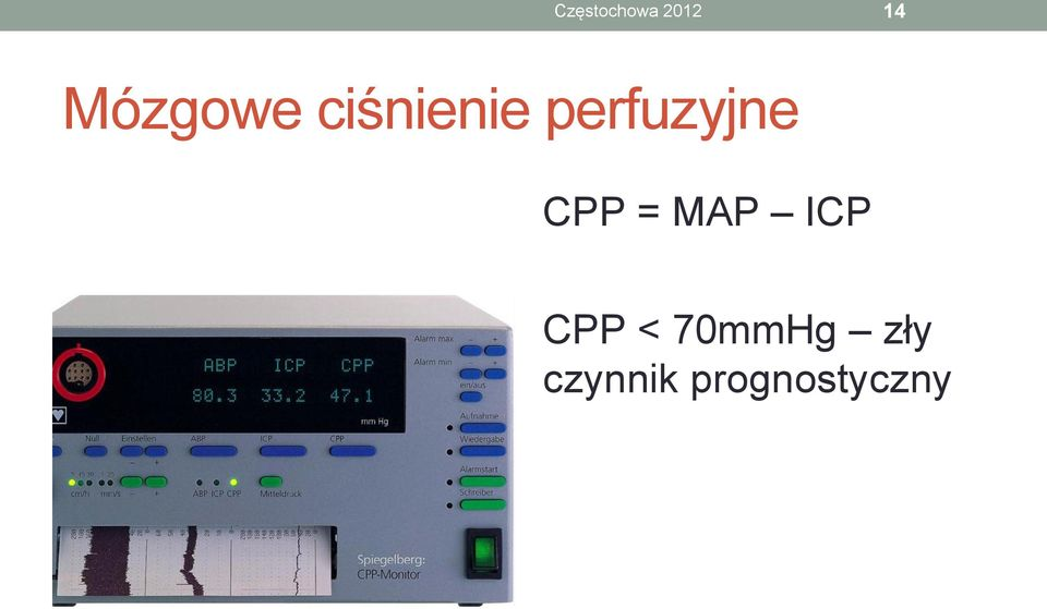 perfuzyjne CPP = MAP ICP