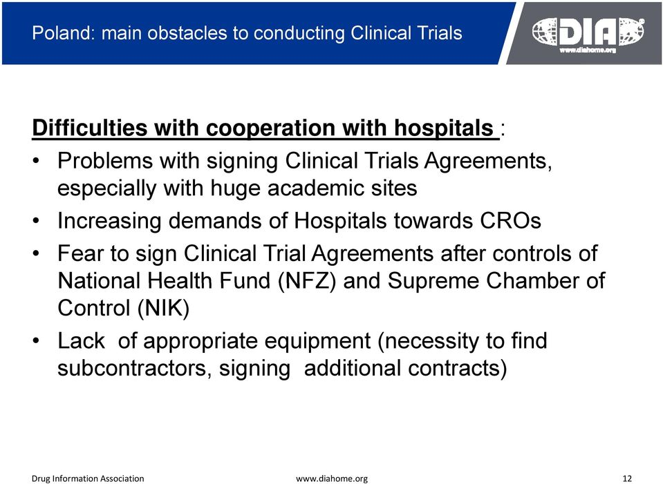 towards CROs Fear to sign Clinical Trial Agreements after controls of National Health Fund (NFZ) and Supreme