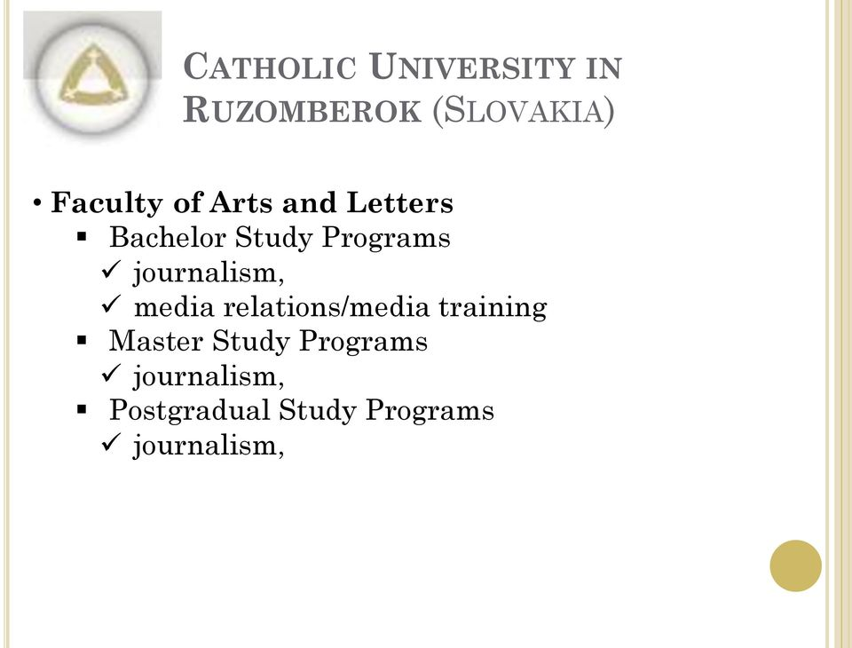 journalism, media relations/media training Master