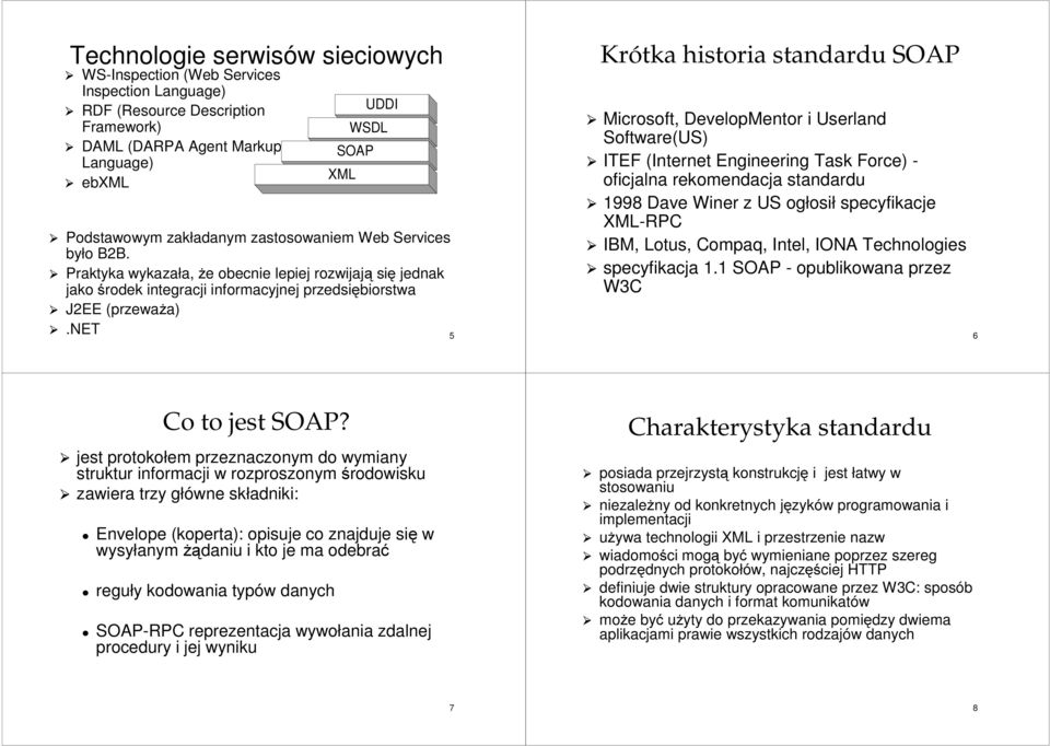 net 5 Krótka historia standardu Microsoft, DevelopMentor i Userland Software(US) ITEF (Internet Engineering Task Force) - oficjalna rekomendacja standardu 1998 Dave Winer z US ogłosił specyfikacje