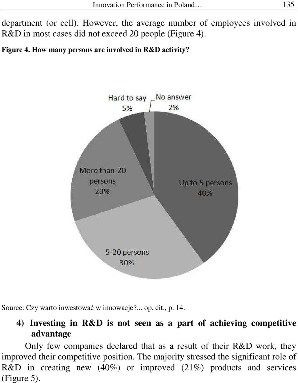 How many persons are involved in R&D activity? Source: Czy warto inwestować w innowacje?... op. cit., p. 14.