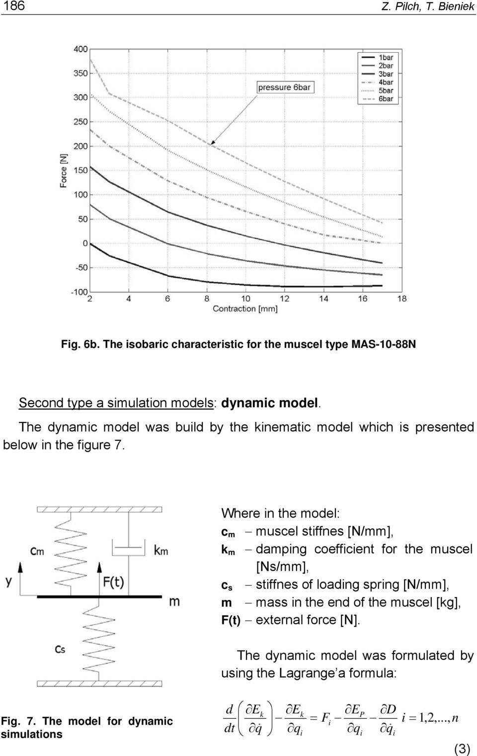 Where in the model: c m muscel stiffnes [N/mm], k m damping coefficient for the muscel [Ns/mm], c s stiffnes of loading spring [N/mm], m mass in
