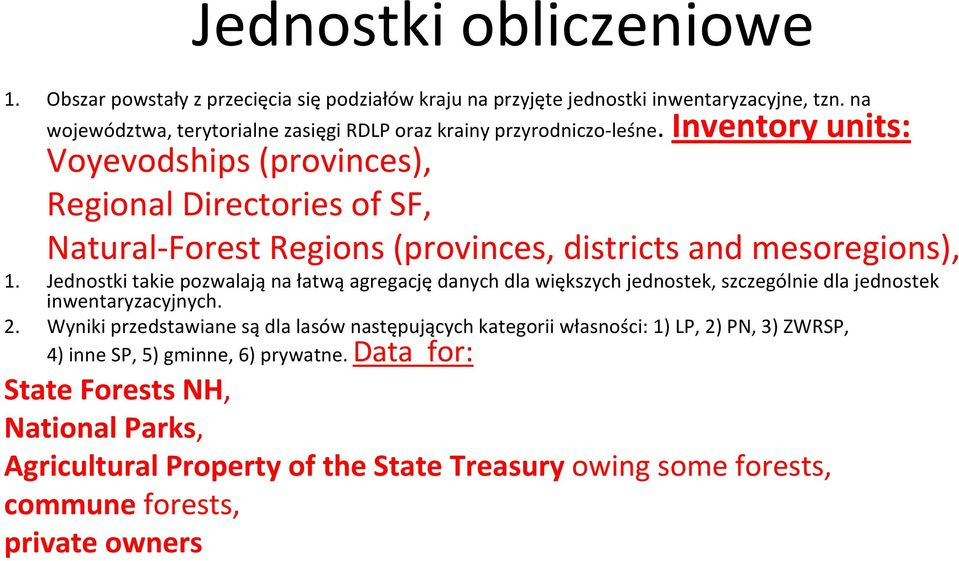 Inventory units: Voyevodships (provinces), Regional Directories of SF, Natural Forest Regions (provinces, districts and mesoregions), 1.