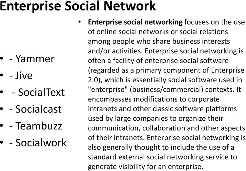 "0), which is essentially social software used in ""enterprise"" (business/commercial) contexts."