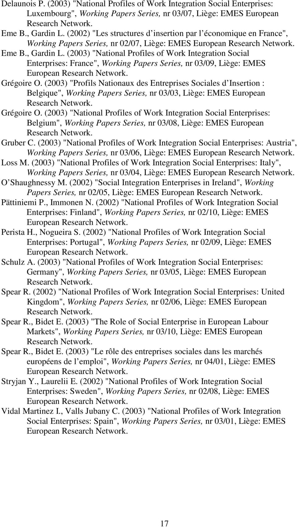 "(2003) ""National Profiles of Work Integration Social Enterprises: France"", Working Papers Series, nr 03/09, Liège: EMES European Grégoire O."