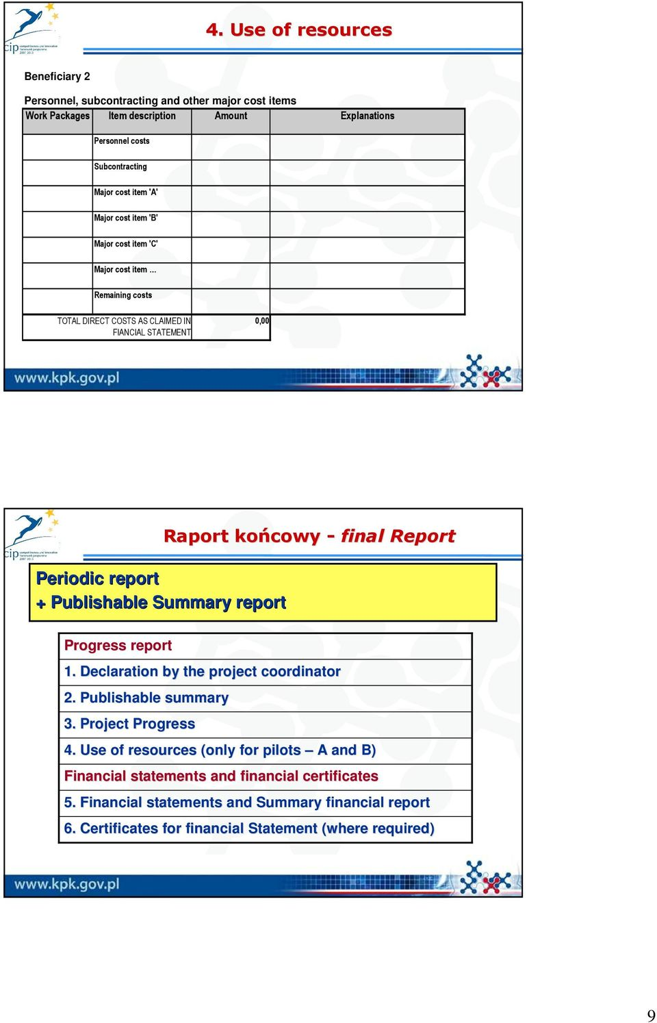 Periodic report + Publishable Summary report Progress report 1. Declaration by the project coordinator 2. Publishable summary 3. Project Progress 4.