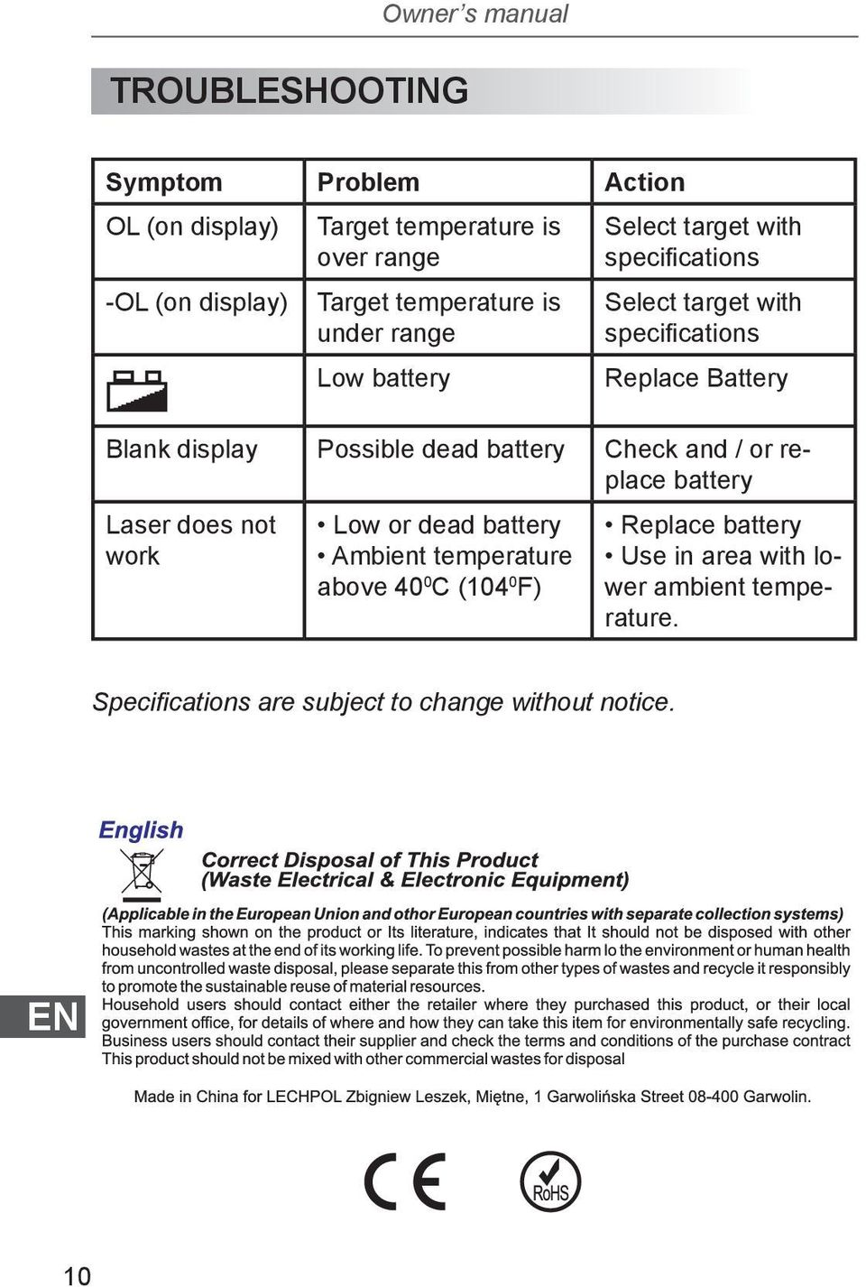 display Possible dead battery Check and / or replace battery Laser does not work Low or dead battery Ambient temperature above 40