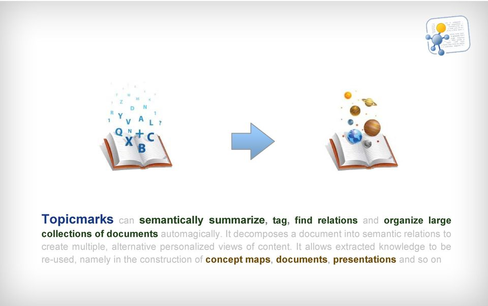 It decomposes a document into semantic relations to create multiple, alternative