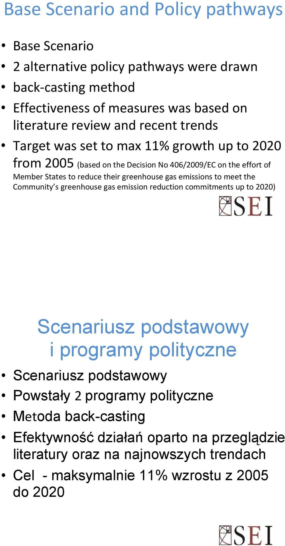 gas emissions to meet the Community s greenhouse gas emission reduction commitments up to 2020) Scenariusz podstawowy i programy polityczne Scenariusz podstawowy