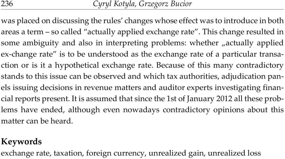 hypothetical exchange rate.