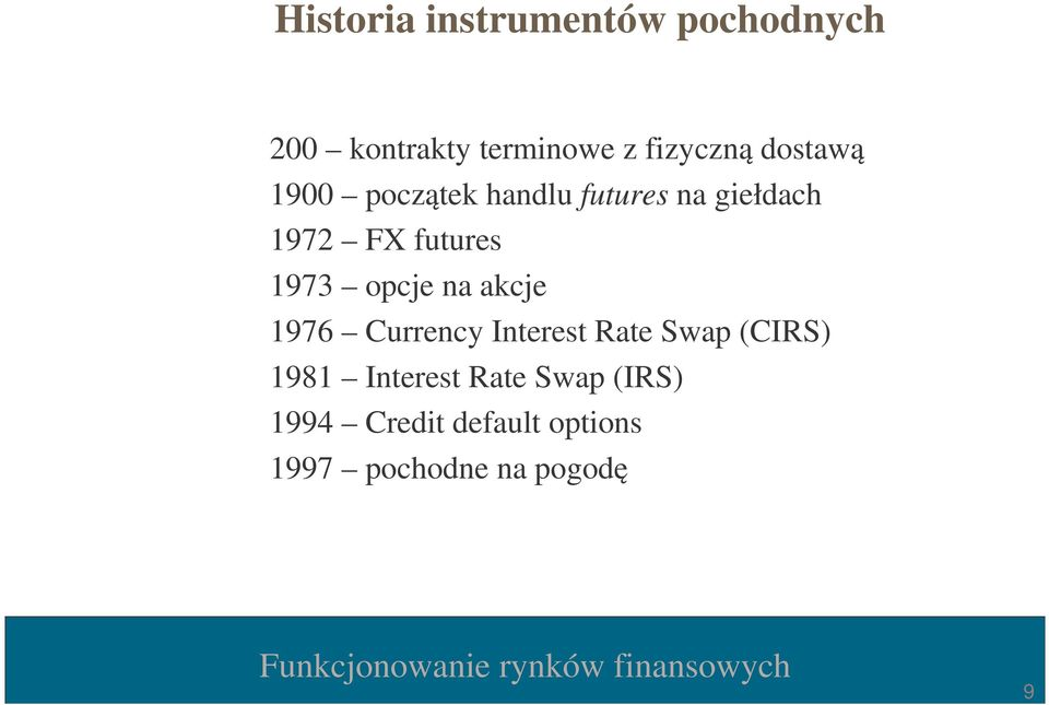 opcje na akcje 1976 Currency Interest Rate Swap (CIRS) 1981 Interest