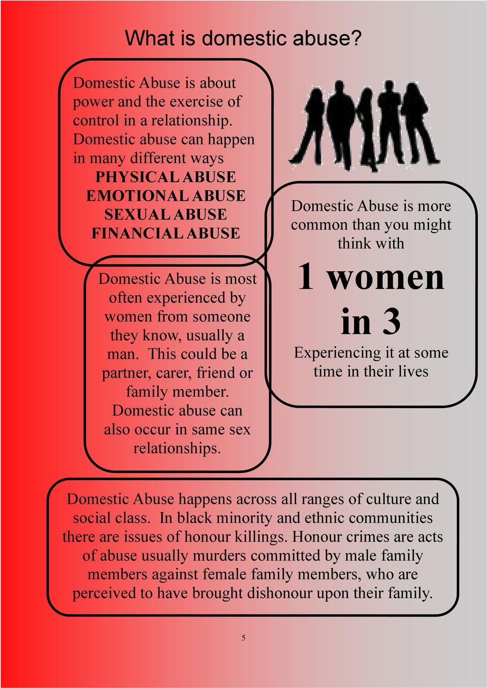 This could be a partner, carer, friend or family member. Domestic abuse can also occur in same sex relationships.