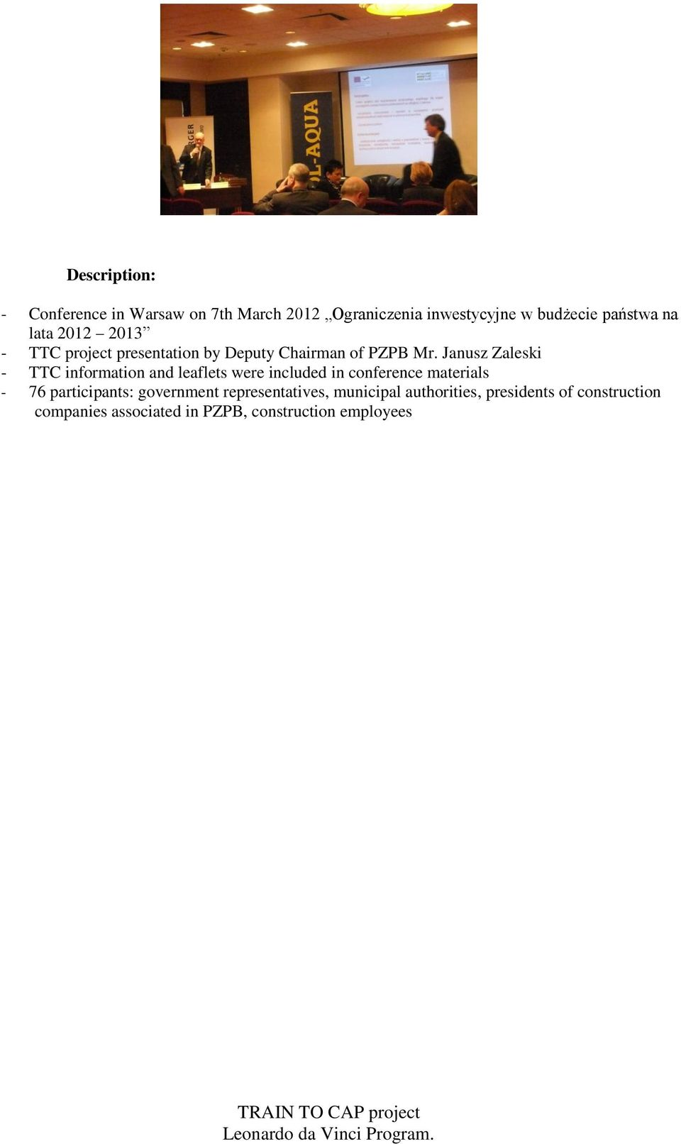 Janusz Zaleski - TTC information and leaflets were included in conference materials - 76