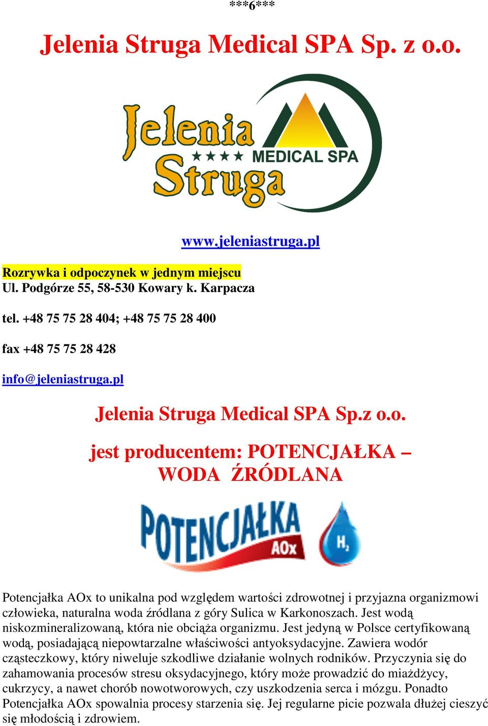 jeleniastruga.pl Jelenia Struga Medical SPA Sp.z o.