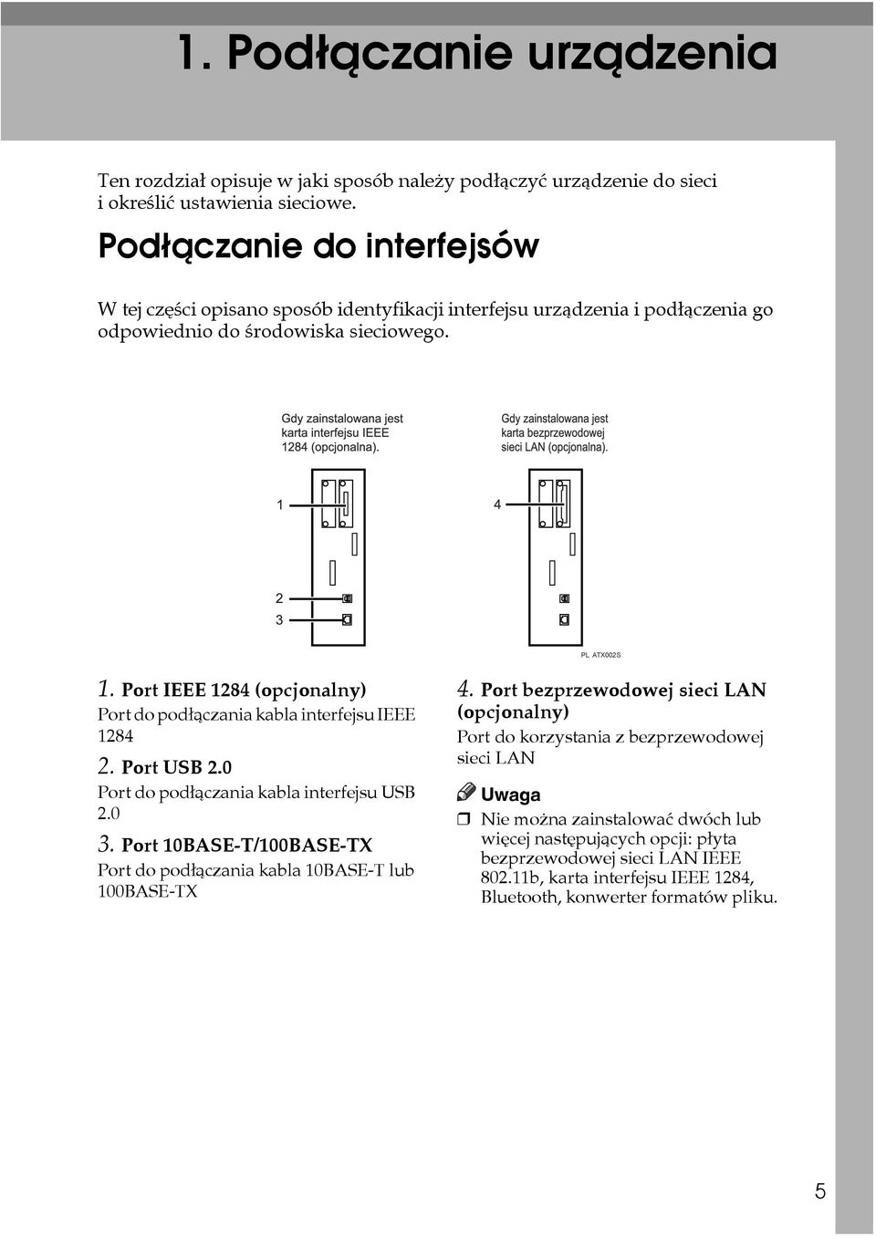 Port IEEE 1284 (opcjonalny) Port do podâàczania kabla interfejsu IEEE 1284 2. Port USB 2.0 Port do podâàczania kabla interfejsu USB 2.0 3.