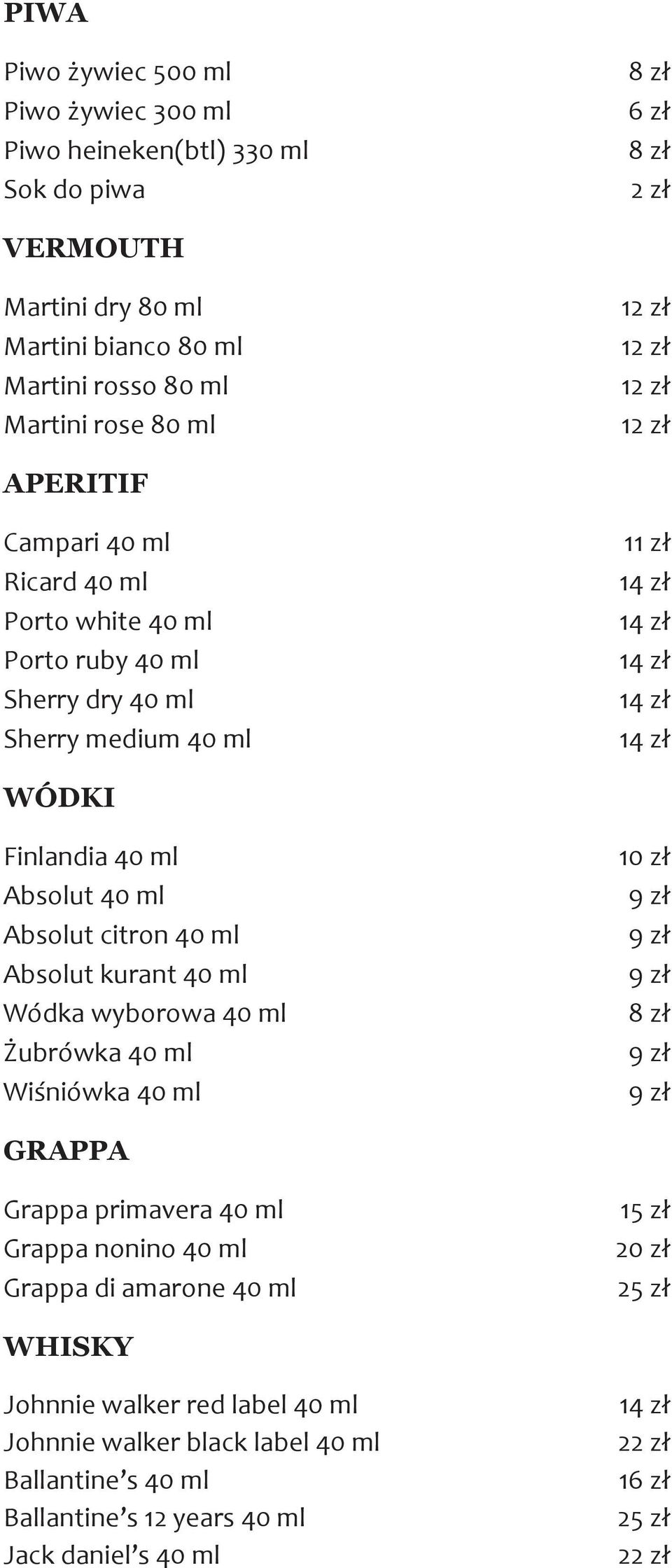 citron 40 ml Absolut kurant 40 ml Wódka wyborowa 40 ml Żubrówka 40 ml Wiśniówka 40 ml 10 zł GRAPPA Grappa primavera 40 ml Grappa nonino 40 ml Grappa di amarone 40 ml 15