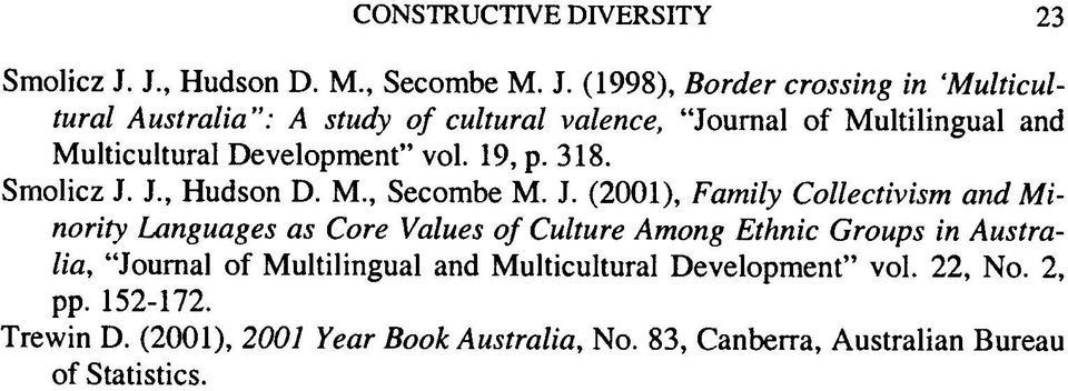 "(1998), Border Crossing in Multicultural Australia"": A study o f cultural valence, Journal of Multilingual and Multicultural"
