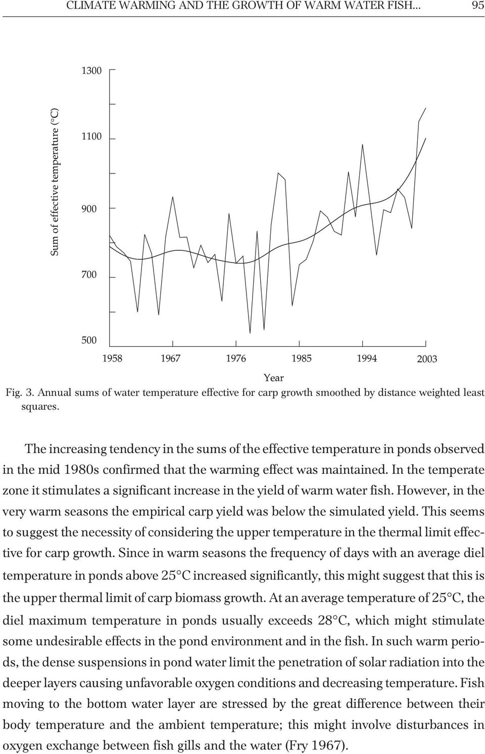 The increasing tendency in the sums of the effective temperature in ponds observed in the mid 1980s confirmed that the warming effect was maintained.