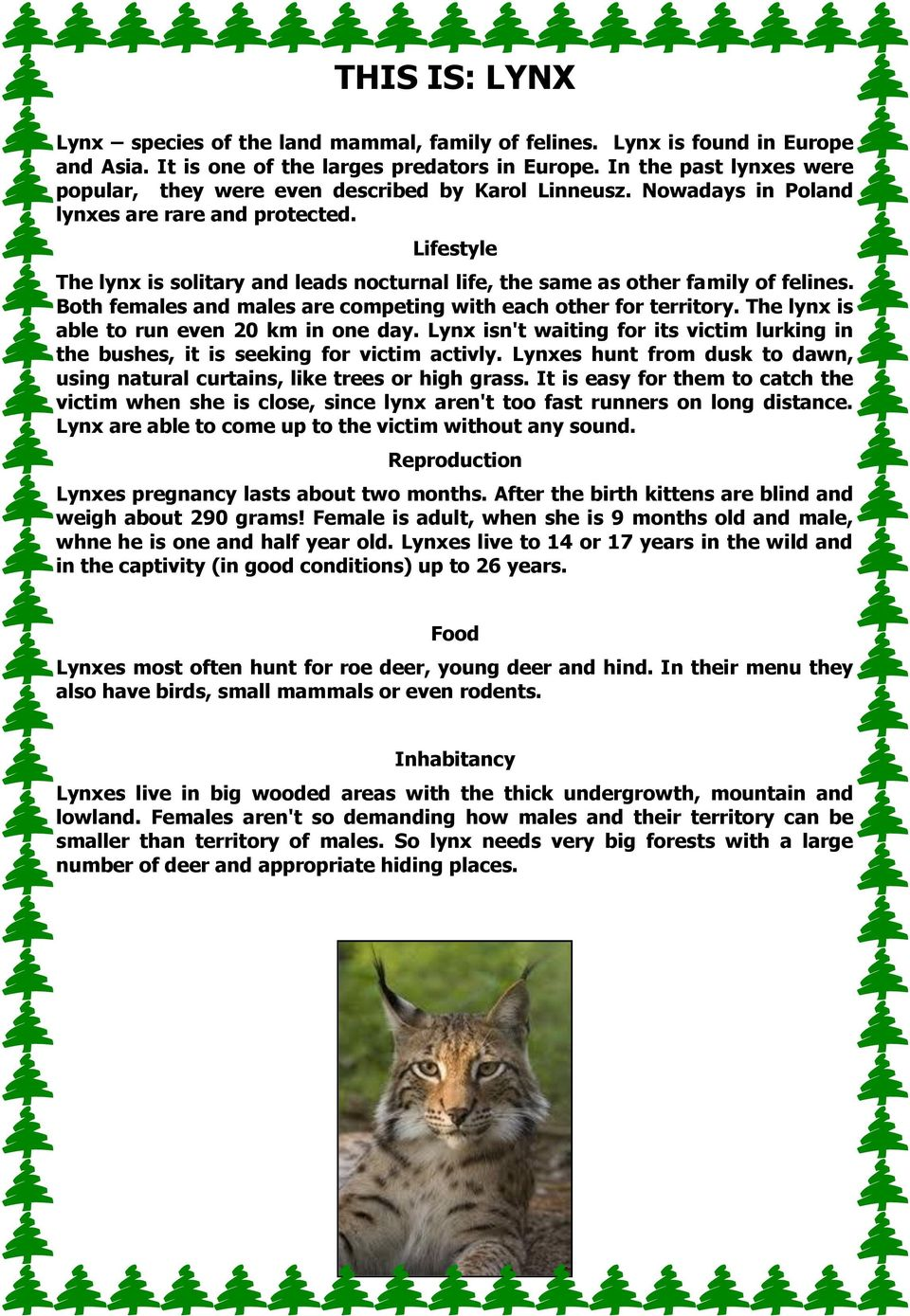 Lifestyle The lynx is solitary and leads nocturnal life, the same as other family of felines. Both females and males are competing with each other for territory.