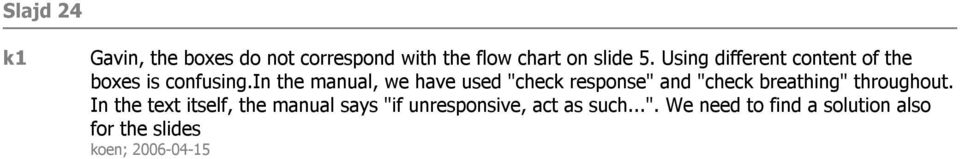 "in the manual, we have used ""check response"" and ""check breathing"" throughout."