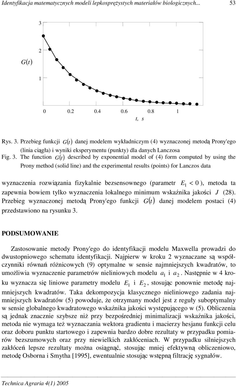 Przebeg funkcj G ( t) danej modelem wykładnczym (4) wyznaczonej metod Prony'ego (lna cgła) wynk eksperymentu (punkty) dla danych Lanczosa descrbed by exponental model of (4) form computed by usng the