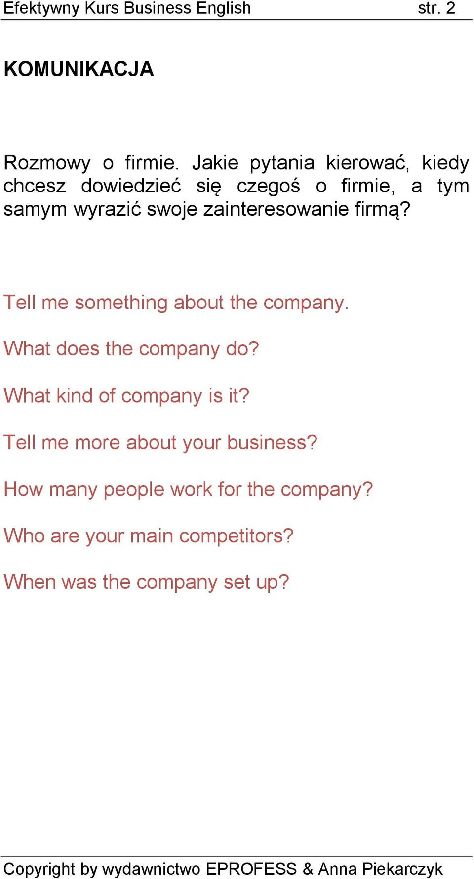 zainteresowanie firmą? Tell me something about the company. What does the company do?