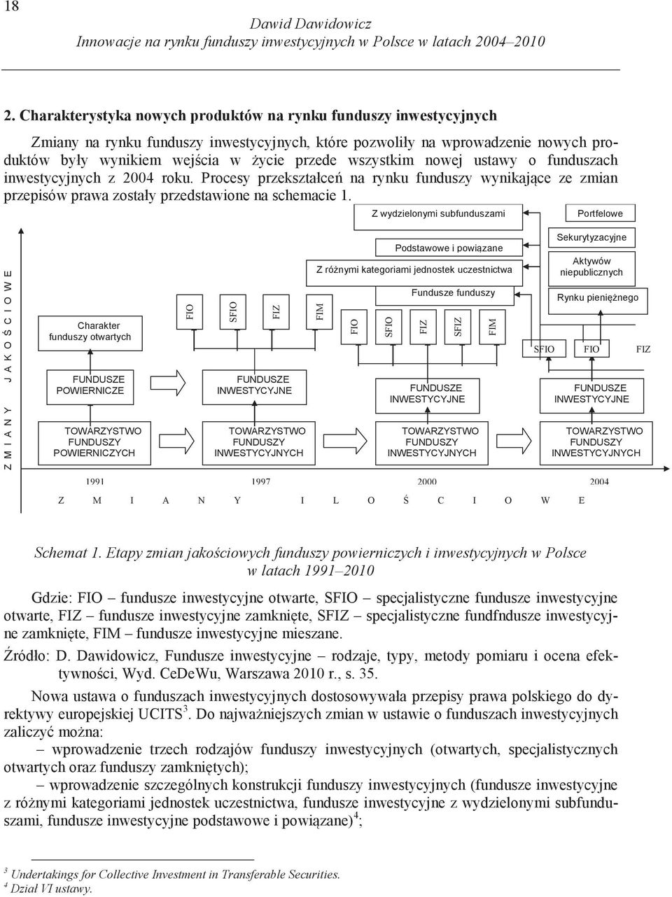 Etapy zmian jakociowych funduszy powierniczych i inwestycyjnych w Polsce w latach 1991 2010 3 Undertakings for Collective Investment in Transferable Securities. 4 Dział VI ustawy.