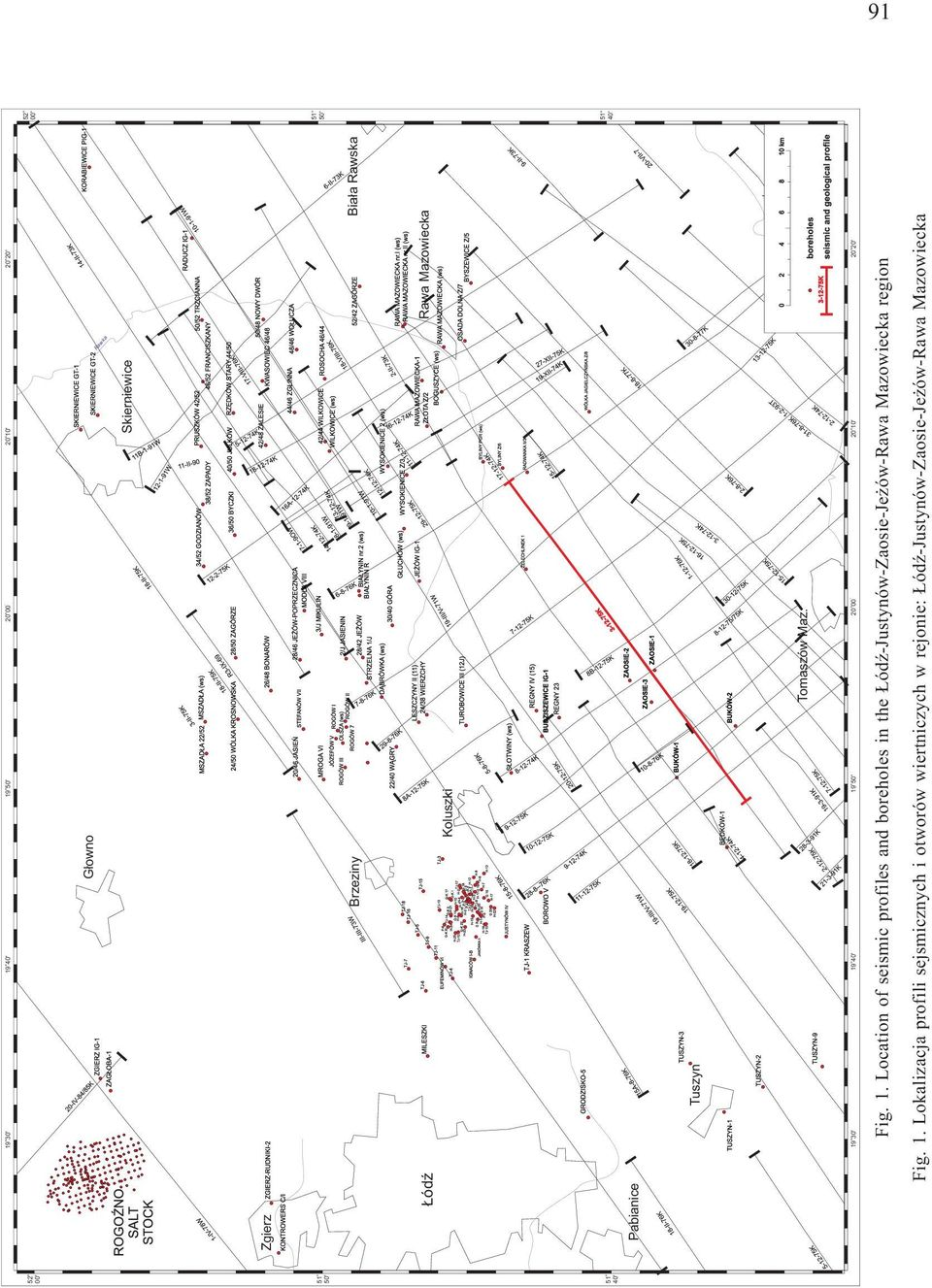 19 30' 19 40' 19 50' ' 20 00 20 10' 20 20' Fig. 1. Lcatin f seismic prfiles and brehles in the ódÿ-justynów-zasie-je ów-rawa Mazwiecka regin Fig.