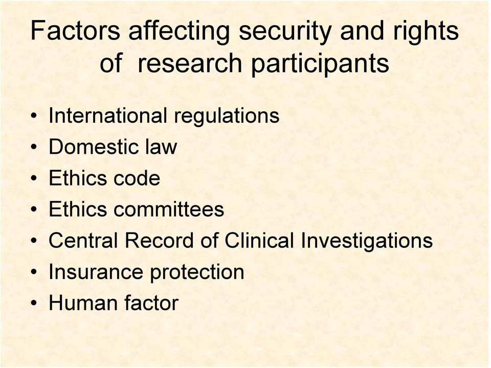 Ethics code Ethics committees Central Record of