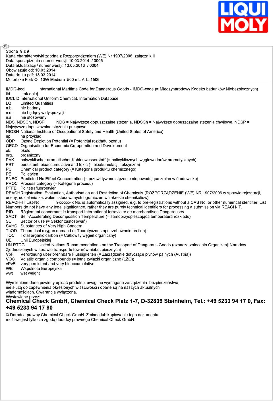 lej IUCLID International Uniform ChemicaL Information Database LQ Limited