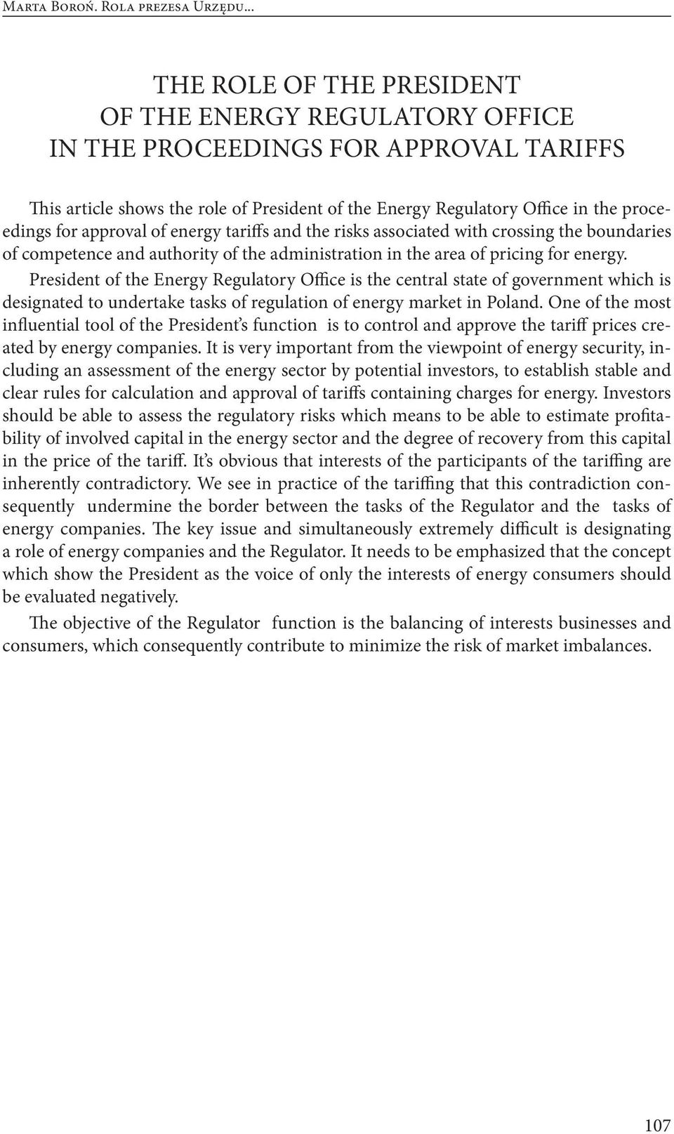 approval of energy tariffs and the risks associated with crossing the boundaries of competence and authority of the administration in the area of pricing for energy.