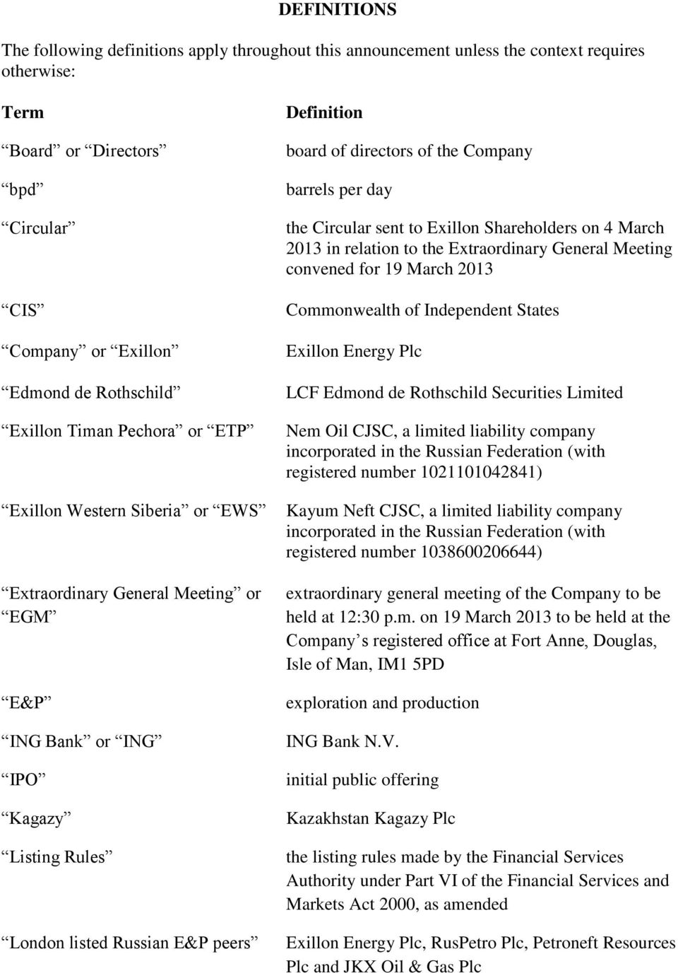 directors of the Company barrels per day the Circular sent to Exillon Shareholders on 4 March 2013 in relation to the Extraordinary General Meeting convened for 19 March 2013 Commonwealth of
