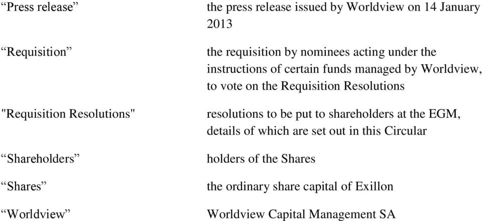 Worldview, to vote on the Requisition Resolutions resolutions to be put to shareholders at the EGM, details of