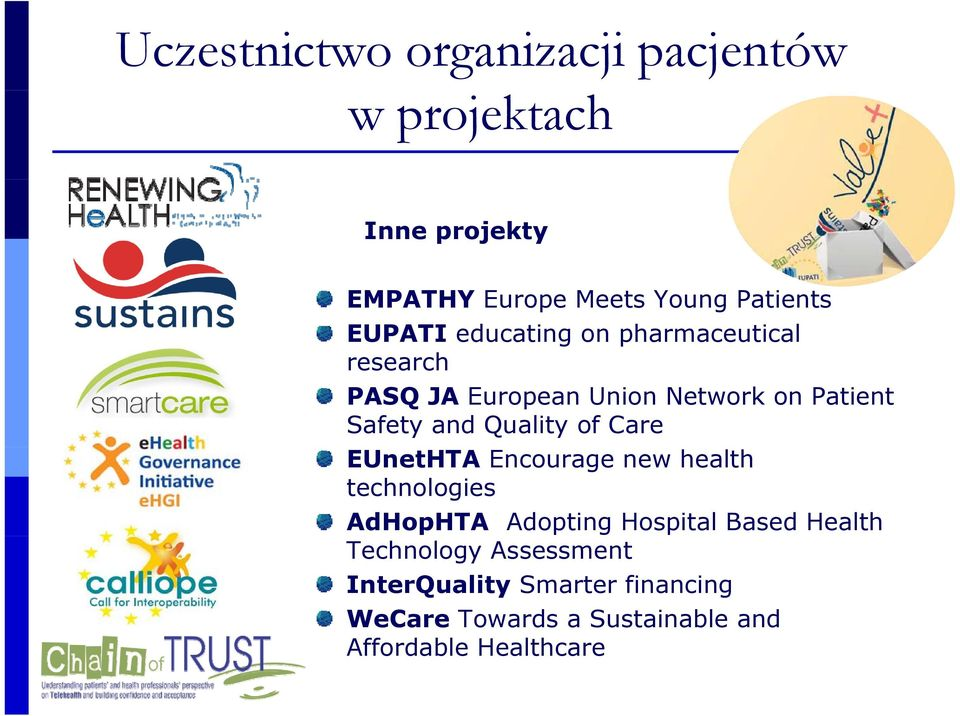 EUnetHTA Encourage new health technologies AdHopHTA Adopting Hospital Based Health Technology Assessment