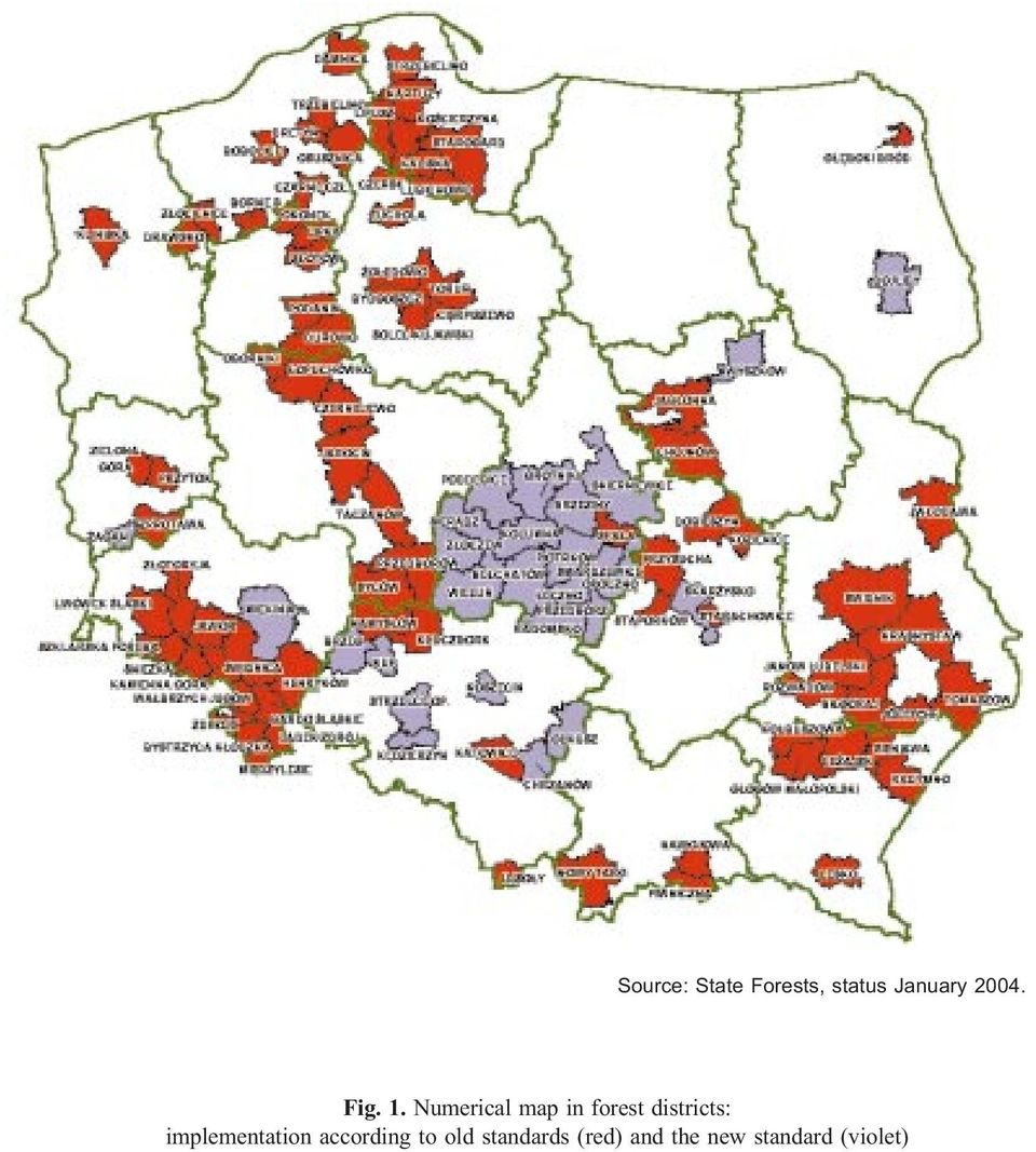 Numerical map in forest districts: implementation