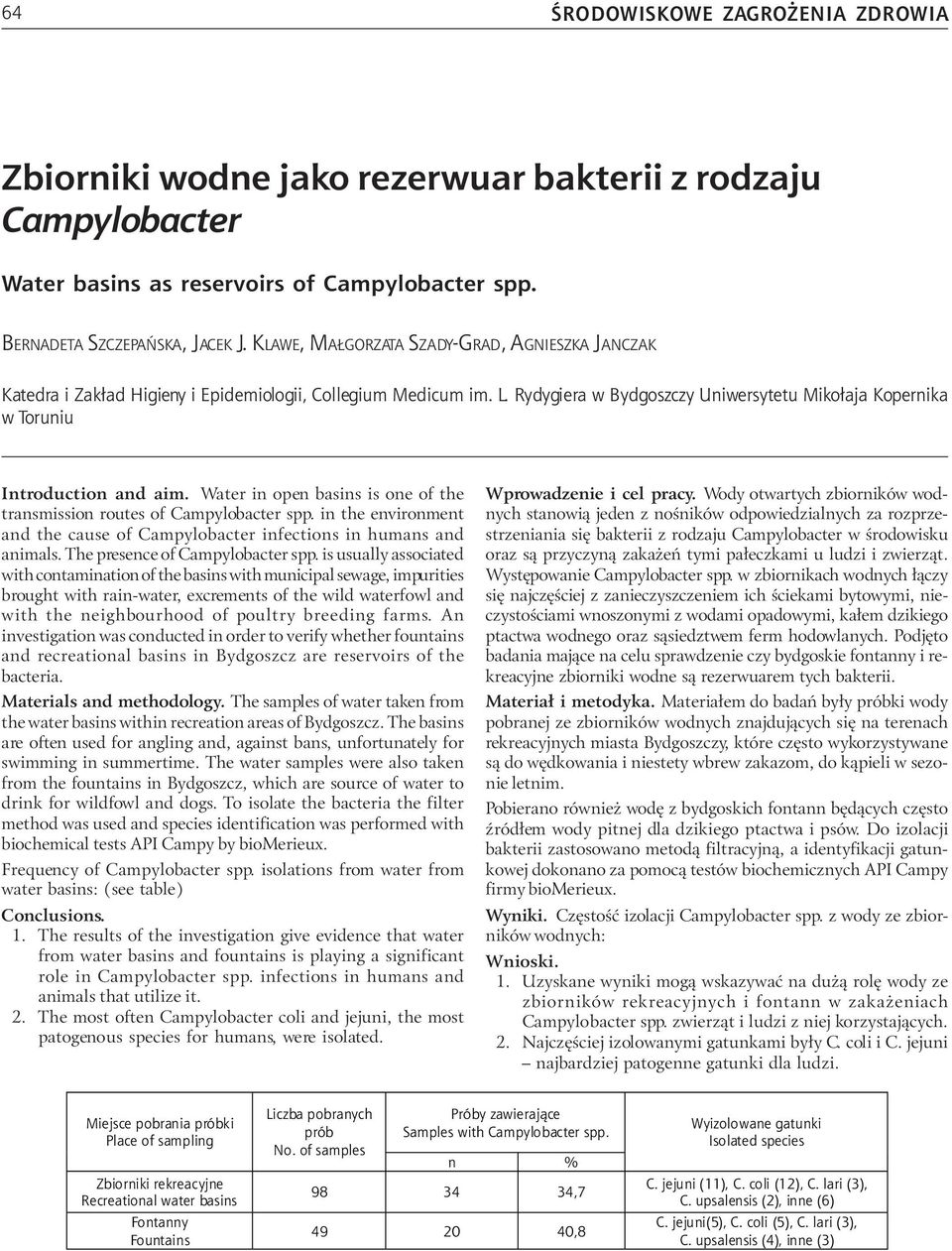 Rydygiera w Bydgoszczy Uniwersytetu Miko³aja Kopernika w Toruniu Introduction and aim. Water in open basins is one of the transmission routes of Campylobacter spp.