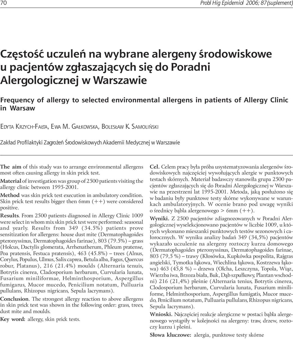 SAMOLIÑSKI Zak³ad Profilaktyki Zagro eñ Œrodowiskowych Akademii Medycznej w Warszawie The aim of this study was to arrange environmental allergens most often causing allergy in skin prick test.