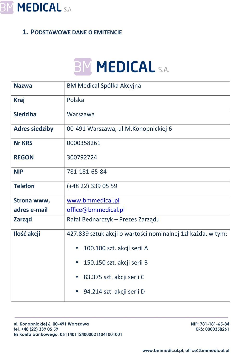 konopnickiej 6 0000358261 300792724 781-181- 65-84 (+48 22) 339 05 59 www.bmmedical.pl office@bmmedical.