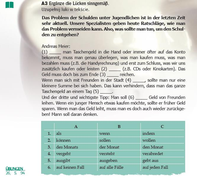 Expedition Deutsch 3A+, Kapitel 1, Lektion 6- Jugendliche in den Schuldenfalle