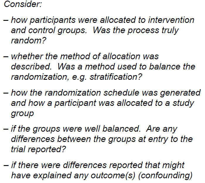 3. Where participants appropriately allocated to intervention and control groups? Yes Can t tell No http://calder.med.miami.edu/portals/ebmfiles/ 3.