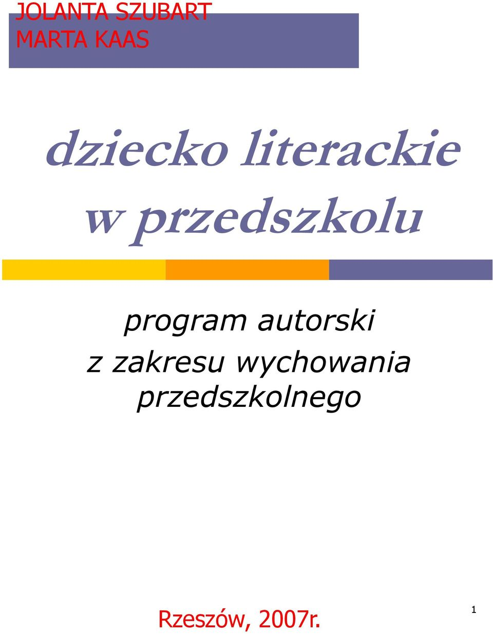 program autorski z zakresu