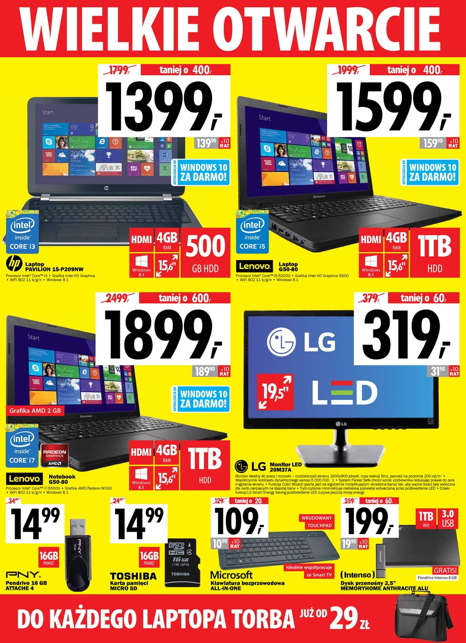 "1 HDD 379, 319, taniej o 60, 189 90 31 90 19,5"" Grafika AMD 2 GB Notebook G50-80 Procesor Intel Core i7-5500u Grafi ka AMD Radeon M330 WiFi 802.11 b/g/n Windows 8."