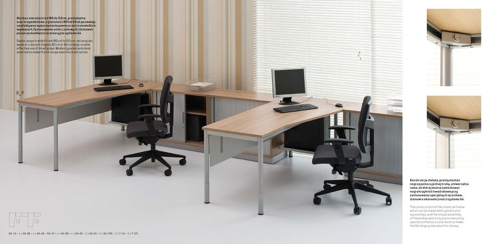 Desks range in width from 180 cm to 120 cm, rectangular, wave or crescent shapes, 80 cm or 60 cm deep, enable effective use of small areas.