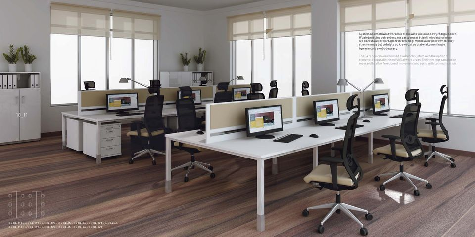 The G4 range can also be used as a bench system with the option of screens to seperate the individual work areas.