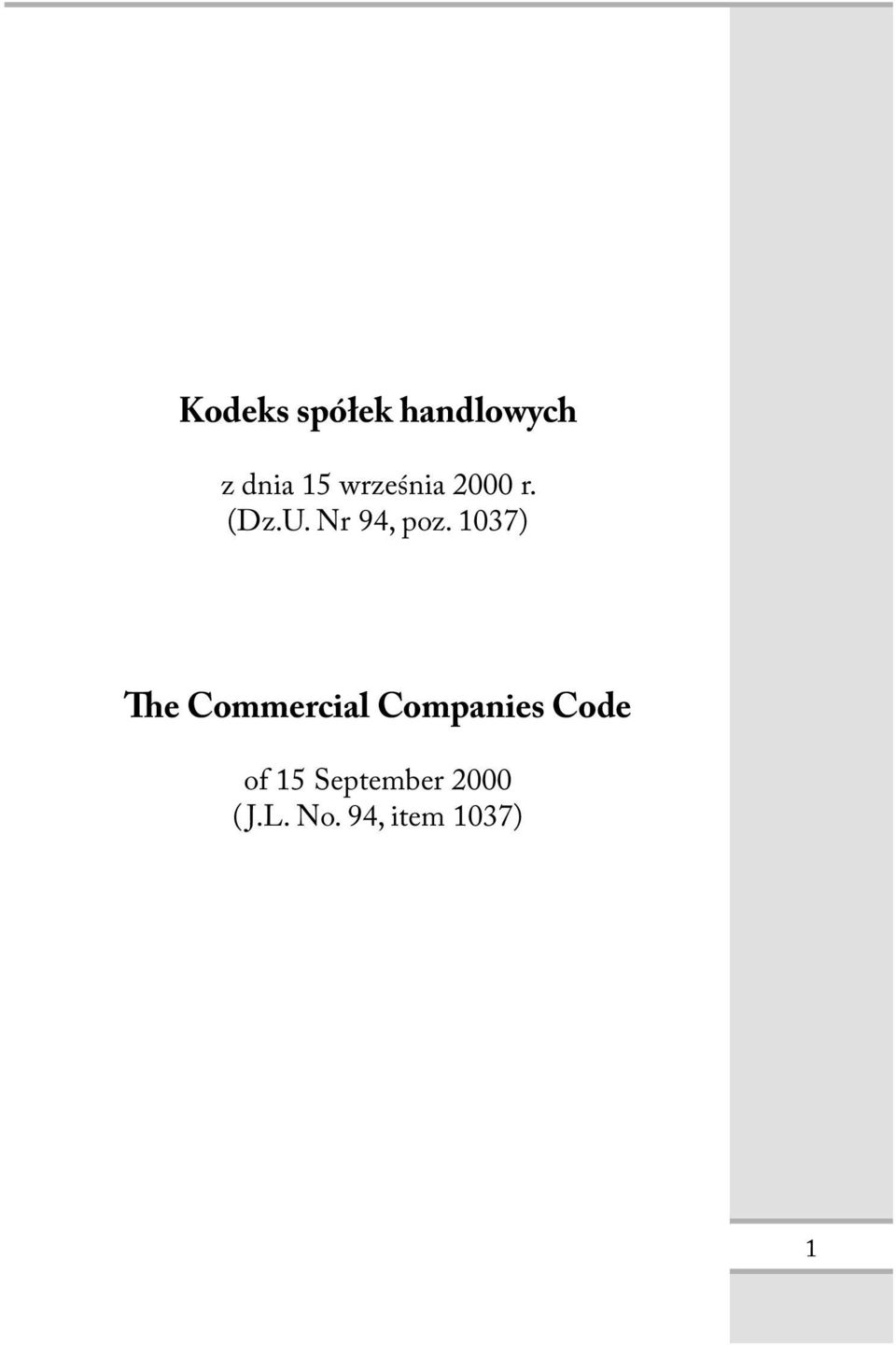 1037) he Commercial Companies Code of