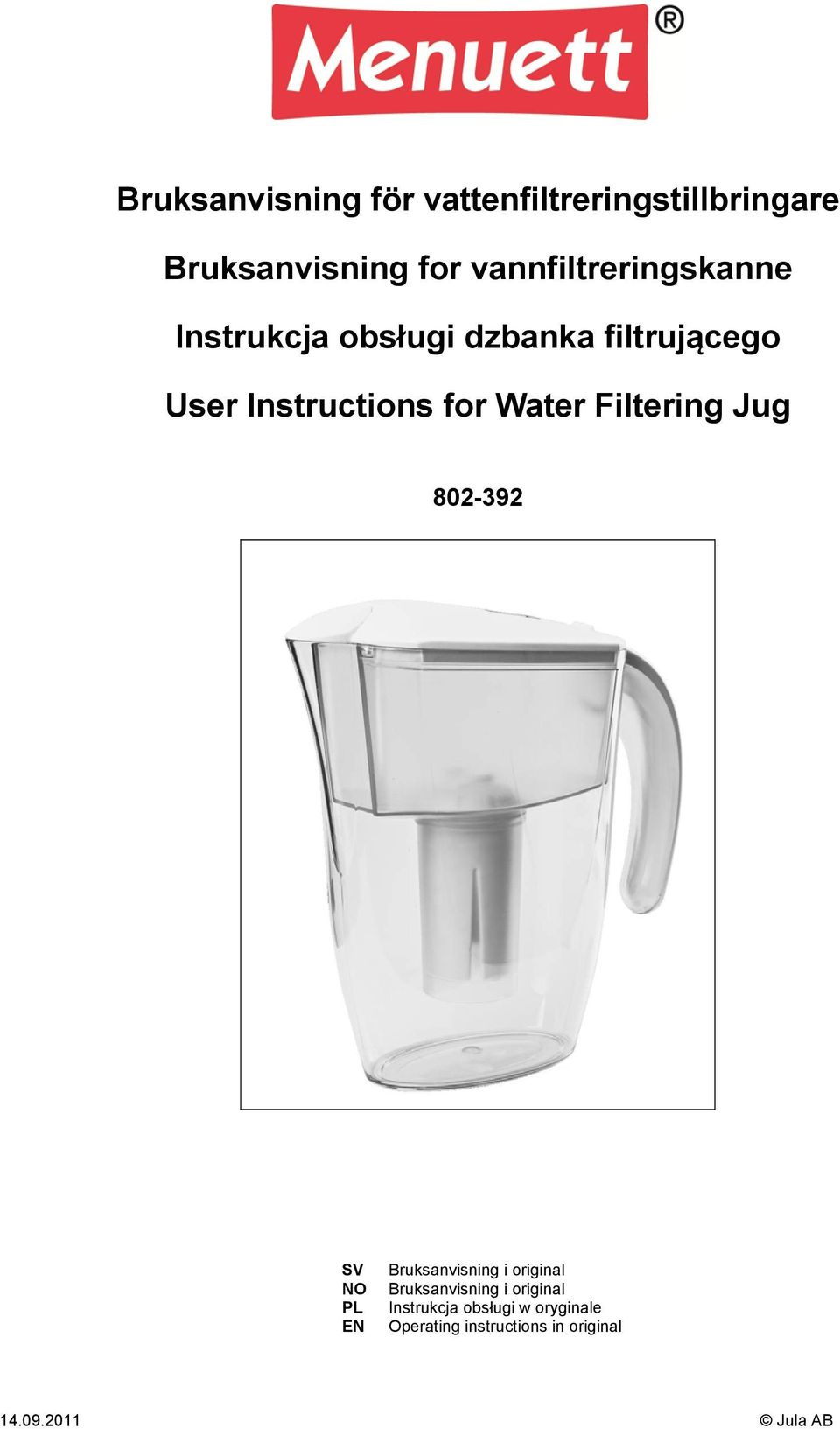 for Water Filtering Jug 802-392 SV NO PL EN Bruksanvisning i original