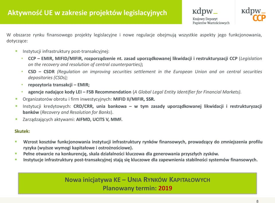 zasad uporządkowanej likwidacji i restrukturyzacji CCP (Legislation on the recovery and resolution of central counterparties); CSD CSDR (Regulation on improving securities settlement in the European